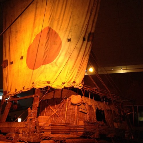 Ra 2 at the Kon-tiki Museum in Oslo, Norway. The Norwgian explorer Thor Heyerdahl and his crew actually crossed the atlantic ocean with this Papyrus boat from Marocco, Africa to Barbados.