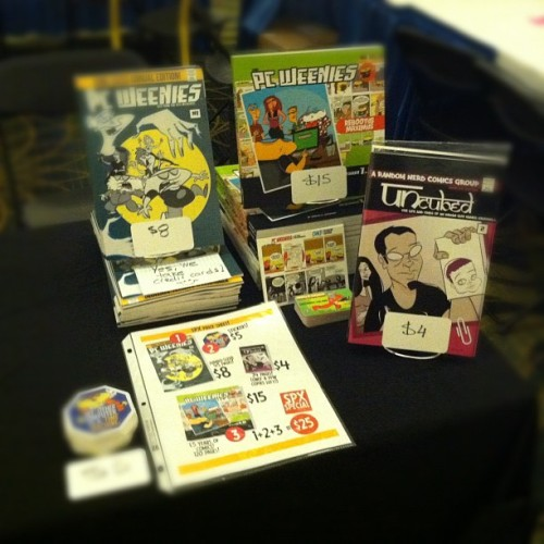books and merch setup for #spx2012 - Table B3! #spx (Taken with Instagram)