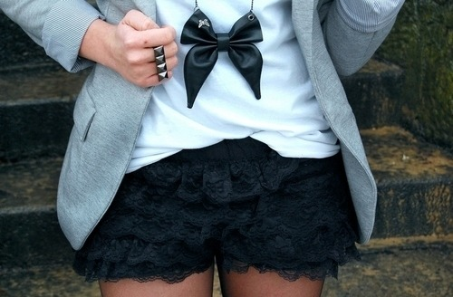 Black,Blazer,Cute,Fashion,Gorgeous,Outfit,Renda,Shorts,Ring,