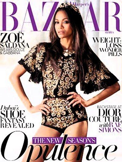 Zoe Saldana for Harper's Bazaar Arabia[Cover, Oct 2012]