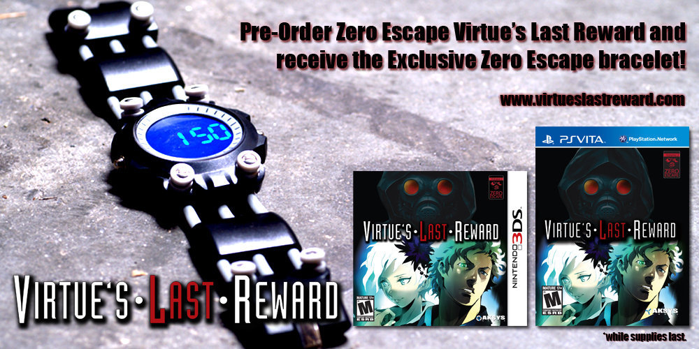 Zero Escape: Virtue's Last Reward bracelet, available in one of three colors (Red, Blue, Green) when you preorder the game through Amazon. I'm sure a lot of you already own the original 999 bracelet, but just think about the heights your swag level would reach if you rocked both on your wrist at the same time. Sky's the limit. Buy: Virtue's Last Reward and 999See also: More VLR and 999 posts[Via Kagari]