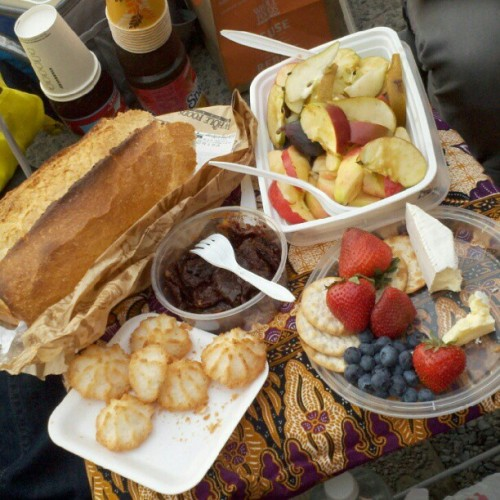[#food at the #highline, my last day of 30: #birthday, #picnic, #nyc. #qtpoc / #food #foodstagram #fruit #macaroons #cheese. sept. 2012] not photographed: cupcakes, smoked eggplant, halal, roasted chicken, yuca & platano chips, various fizzy drinks.  (Taken with Instagram)