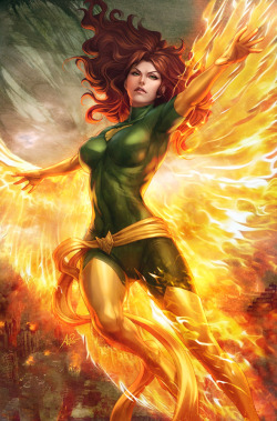 Jean Grey/Phoenix artwork for Marvel Vs Capcom 3. September, 2011. Art by Stanley Lau.