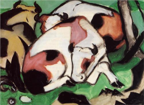 german-expressionists:  Franz Marc, Resting Cows, 1911