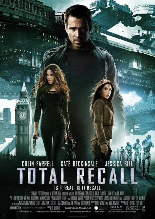 #410/#127 Total Recall (2012) Douglas Quaid (Colin Farrell) is a factory worker looking for a little more out of life. Living in the slums of the Colony (formally Australia) and commuting, via a giant gravity lift through the centre of the planet, to the super rich United Federation of Britain day in and day out isn't what he imagined for himself. Deciding to have a little fun he visits Rekall, a company which can give you any memory you want. There however, he seemingly trips some dormant memory to a hidden past life as a government spy turned traitor and quickly finds himself being hunted down by the authorities, the woman he thought was his wife (Kate Beckinsale) and a woman (Jessica Biel) he's been having mysterious dreams about recently. I have seen the 1990 version of Total Recall but I have no real attachment to it personally. It's a fun Arnold Schwarzenegger film with an interesting sci-fi premise but it was never a film I felt the need to see more than once or over analysis past that initial viewing. I honestly couldn't remember a great deal of it coming into this remake. It's enjoyable enough but I've no knee-jerk reaction against the 2012 movie just for existing the way some will have. I thought this was a fairly well done remake. It pays tribute to the original and the source material from Philip K Dick, but it manages to put its own take on the story. Farrell's a believably out of place regular guy as Quaid and it's enjoyable to watch his progress through these series of events. Beckinsale is also in top form, playing one of her better roles, and pulls off the dedicated uber assassin really well. Biel was also fine but could have been played by anyone.The CGI, set dressing, costumes, stunts and effects were all also top notch helping to bring this world to life. That all said, there's nothing really which stands out about this film. It's an enjoyable action sci-fi romp but it's not going to have any lasting impact. It's a little generic overall and it pulls from a lot of other greater sci-fi franchises. I've seen other reviewers saying they got a little bored after a while and, while I personally felt I got my money's worth, I can see where they could be coming from. It's a perfectly enjoyable movie and a fine companion to the 1990 film, but I don't see it blowing anyone's mind. 3.5/5