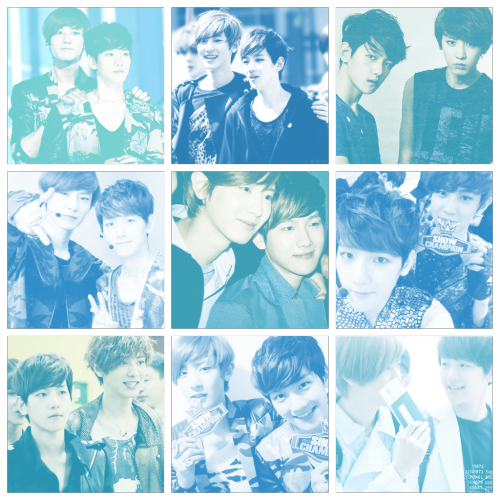 Color Meme: Baekyeol in Blue requested by changayeol