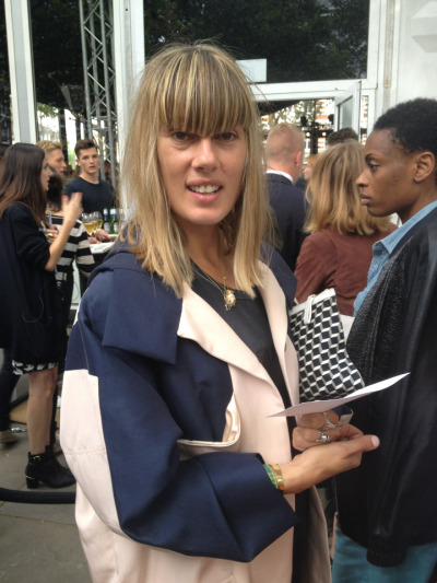 Bumped into @nataliehartley outside @rag_bone. LOVE her Pierre Hardy clutch #LFW
