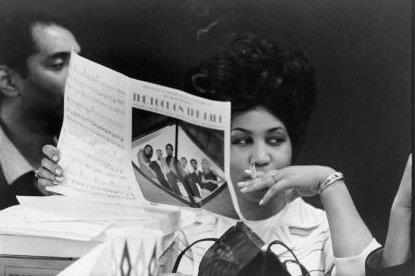 "Aretha Franklin taking a break during a recording session in the Atlantic Records studio in Manhattan for her album ""This Girl's In Love With You"" on January 10, 1969. Photo: Michael Ochs Archives."