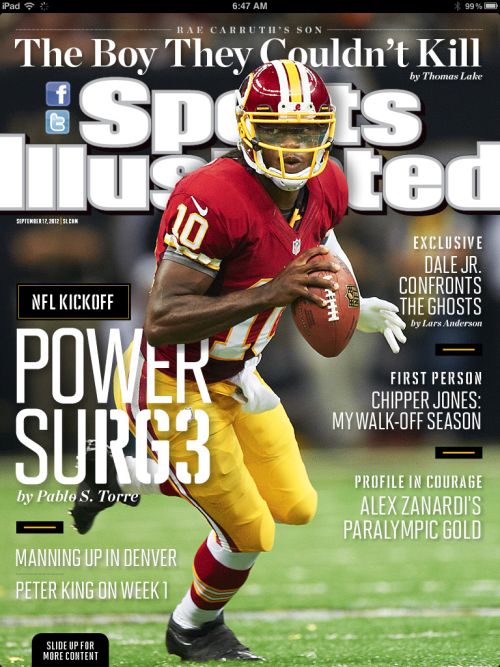 A tad bit late, but big ups to RGIII for landing on the cover of the east coast version of Sports Illustrated.