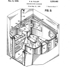 History of the Bathroom Part 4: The Perils of Prefabrication In 1940, Buckminster Fuller receieved Patent 2220482 for a prefabricated bathroom. Fuller wrote in his claim:  Attempts have been made heretofore to provide prefabricated bathrooms with the object of lowering the cost of building a bathroom into a dwelling. Such bathrooms, however, by reason of their great weight and more or less conventional construction, have involved relatively high costs by the time they have been shipped and installed for use….It is an object of my invention to provide a compact, light prefabricated bathroom which may be readily installed either in a dwelling under construction or in a dwelling that is already built.