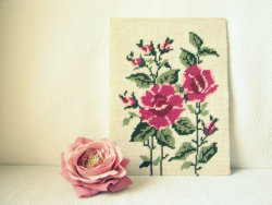 Vintage Rose Needlepoint Wall Hanging