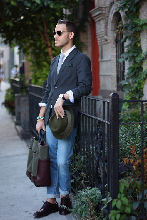 The tres adorable Dustin, 1/2 of @Closet_Freaks #NYFW #streetstyle #menswear #puppy