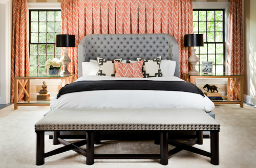| Decor Pad | How amazing is this Thom Filicia room with the full wall of draperies behind the bed!? LOVE.  xxDC