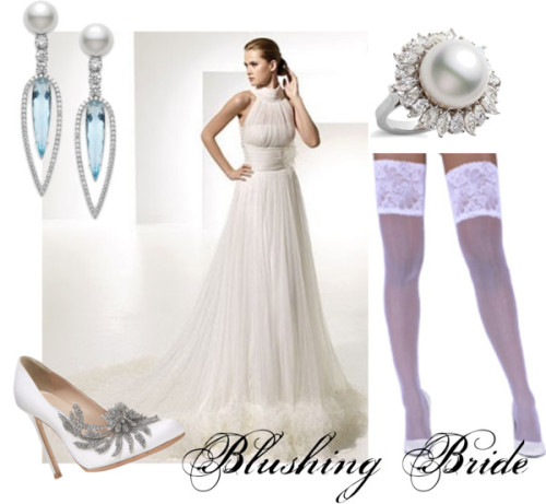 Blushing Bride by viennemilano featuring white heelsManolo Blahnik white heels / Mikimoto couture jewelry / Aquamarine earrings