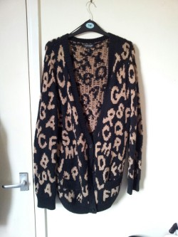 Topshop alphabet boyfriend cardie, size 12. will fit size 10/12/14/16. RRP - £45 from me - £10