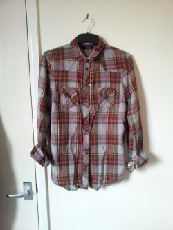 Checked Topshop shirt, size 12. Worn once. Shirt - £3