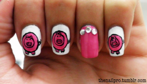 "piggies!!! this one is dedicated to mikela and isabella :) if you would like to know how to draw this pig.. watch this video.. http://www.youtube.com/watch?v=RZ7vFK1scJM (only difference is that i say ""semi circle"" instead of half circle.. i think it sounds better!) colors used: orly-white tips color club-in bloom color club-where's the soiree"