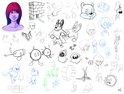 Compilation of stuff I sketched recently. Click on the pic to go see all the sketches in full-size. It's a pretty big file, tho I NEED TO DRAW MORE