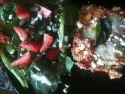 091412: Dinner, Part II: Salad + Basil Lasagne: Salad: farmers' market mixed lettuces + chard, strawberries, goat cheese crumbles, sliced purple scallions, chopped walnuts, homemade balsamic fig vinaigrette. Lasagne: homemade tomato sauce, ricotta + 1 farm egg + leftover homemade basil +walnut pesto, Tillamook Italian cheese shreds, basil ribbons, 3 oven-ready lasagne noodles, little goat cheese up top. Super Yum.