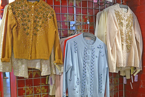 Beautiful beaded cardigans in our Women's Vintage department!