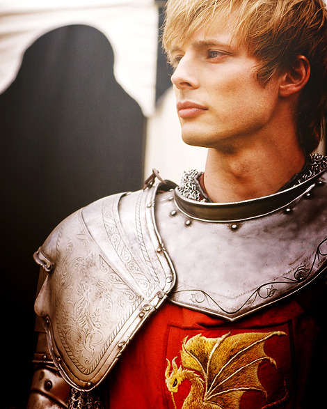 Bradley James as Arthur in BBC's Merlin