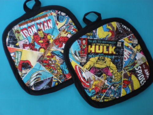 (via Marvel Comic Avenger pot holders limited by HauteMessThreads)