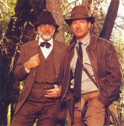 Sean Connery and Harrison Ford on the set of Indiana Jones and the Last Crusade (1989)