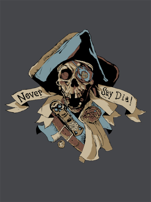 "brianjsmithart:  ""Goonies Never Say Die"" t-shirt design by Brian J. Smith Shirts available on RedBubble (If you reblog this, please don't remove the description…)  Worked on this all night. Gonna do a whole series of shirt designs like this one."