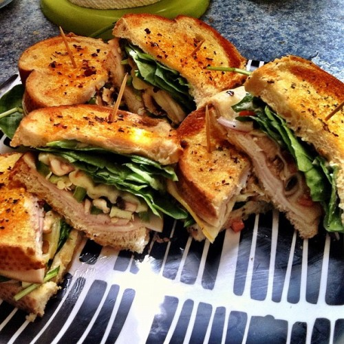 Lunch: Oven toasted turkey mushroom sandwiches some stupidly spicey with jalapeños and pepper jack cheese the others with onions, tomatoes and münster cheese. (Taken with Instagram)