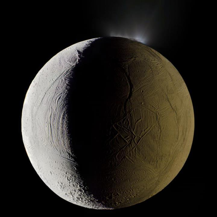 No big deal, just an image of Saturn's moon Enceladus firing a geyser of water into space thanks to a volcanic eruption. (via Krulwich Wonders…, photo by Michael Benson)