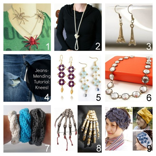 Roundup Nine DIY Jewelry, Accessories and Fashion Tutorials PART THREE. Roundup of this past week. September 9th - September 15th, 2012. *For past roundups go here: trebluemeandyou.tumblr.com/tagged/roundup Glitter Spiders from Wobisobi here. Seven Ways to Wear a Long Strand of Pearls from La Vie en Rose here. Easy Kate Spade Eiffel Tower Earrings Tutorial from Henry Happened here. Mending Holes in Jeans from Adventures in Dressmaking here. Chan Luu Knockoff Earrings Tutorial here. J.Crew Inspired Crystal Necklace Tutorial from A Splendid Assemblage here.  DIY Four Easy Knit Cuff Patterns from A La Sascha here. DSQUARED Inspired Rhinestone Skeleton Hand Brooch Tutorial from Studs and Pearls here. Left Photo: Skeleton Hand Brooch by DSQUARED, Right Photo: DIY by Studs and Pearls. Winter is coming. DIY Fleece Ear Warmers Tutorials from Delia Creates here.