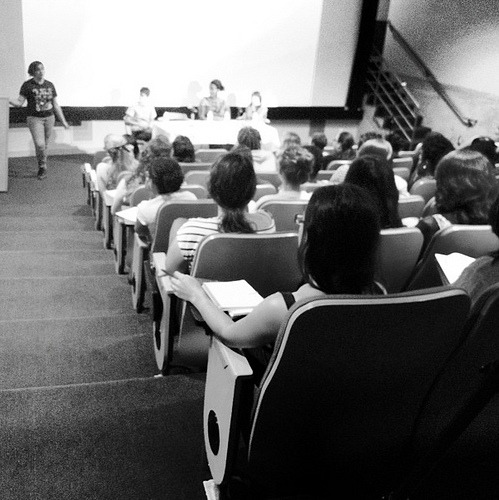 POC Zine Project speaking at Wellesley College on September 14, 2012 Photo credit: Laura O'Brien ‏@niathena We cannot adequately put into words how grateful we are to the entire community at Wellesley that helped to make this panel possible. We will be sending handwritten thank-you notes and zines to Alana Kumbier and others. Thanks to everyone who showed up! The funds from this event are 100% going to Race Riot! tour needs. We really appreciate the media team at Wellesley livestreaming the panel as well and the woman (can't remember her name, sorry! no sleep for two days!) who bought us dinner. If you can read this, please contact us so we can send you some zines!  We're going to find out if there is an archived video of the panel and if that exists we'll share it here. <3 Big thanks to Honor Moody who gave us rides to and from the BoltBus stop. You were like every amazing car video game rolled into one to get us to Wellesley on time after our bus was late.  Thanks again to Rachel, Ju and Suzy X. for participating on the panel. Y'all rocked it. It always takes my breath away to witness fierce women of color occupying academic spaces and sharing their firsthand experiences with white supremacy, classism and misogyny, as well as the transformative nature of finding a welcoming community and allies.  That BoltBus ride to MA was brutal and you still had energy for days. And then the BoltBus ride back to NYC stank like ass and for that I am truly, truly sorry … even though that 'ish wasn't me. :D Our mission as POC Zine Project is to make zines by people of color easy to find, distribute and share - activism and community through materiality. The responses we received from participants who approached us afterward with their ideas and questions is why we do what we do. Love, Daniela POC Zine Project ;) ;) ;)