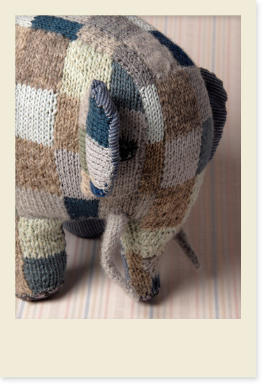 Hand Knit Patchwork Elephant