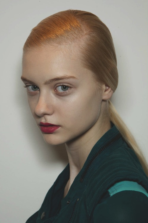 Nastya Kusakina backstage at Jil Sander Fall/winter 2012