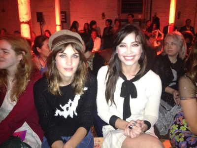 Front row neighbours @alexa_chung & @daisylowe are chic & chic @moschinofficial #LFW