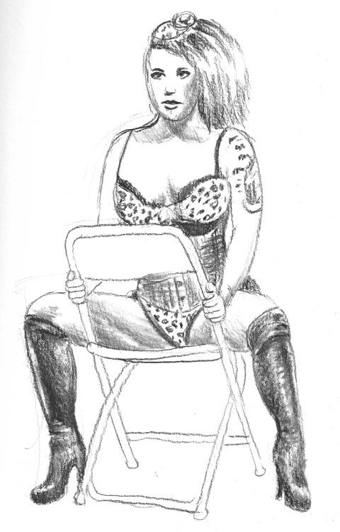 Deanna Deadly at the most recent Dr. Sketchy's in Boston