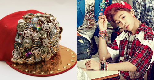 BTOB WOW MUSIC VIDEO & PROMO PHOTOS | ILHOONLOVE & DUNG EMBELLISHED HAT - ₩38,500 (approx. $34) Style Nanda has a similar hat in black for around $50 here.