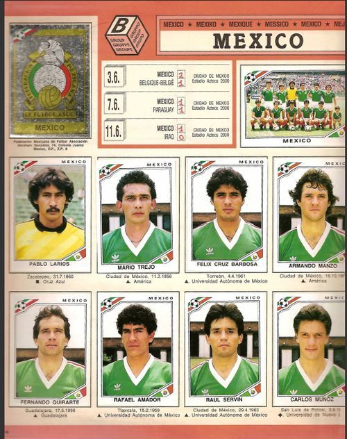The Mexican National Team, in Panini form, circa WC 1986. Happy Independence Day Mexico!
