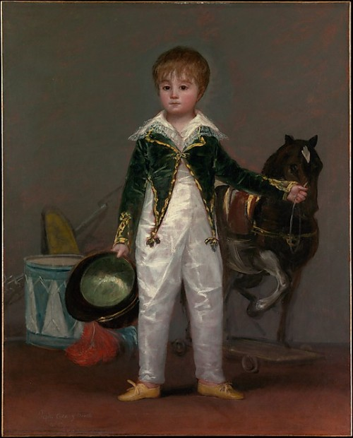 "José Costa y Bonells (died 1870), Called Pepito by Francisco de Goya y Lucientes, early-mid-1810's Spain, the Met Museum  Pepito's father, Rafael Costa de Quintana, was doctor to Ferdinand VII; his mother was the daughter of Jaime Bonells, doctor to the Alba family. The portrait is most closely related to works that Goya painted shortly after 1810 and seems to allude to the Spanish War of Independence, 1808–14. Pepito's jacket is tailored in imitation of a soldier's uniform, and his hair is cut in the Napoleonic fashion. The military analogy is further enhanced by the drum and the toy rifle with a fixed bayonet. Pepito's pose is unquestionably intended as a variation on the so-called ""dismounted equestrian portrait,"" popular among military figures and royalty during the seventeenth and eighteenth centuries."