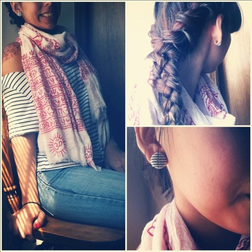 Outfit, earrings, hair today!  (Taken with Instagram at Where The Heart Is)