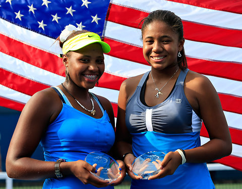 "The fabulous Taylor Townsend and Gabrielle Andrews, after they won the girls' doubles tennis title! Photo by Chris Trotman, Getty Images. I am NOT here for the disrespect and misogynoir that Taylor has had to deal with. I was glad to see Serena Williams stand up for her. (It made me think of the ""passing the torch"" kind of connection from Dominique Dawes to Gabrielle Douglas.) Also, I love this open letter on Ebony that David Leonard wrote to Patrick McEnroe, regarding the disrespect and limits they seek to place on Taylor."