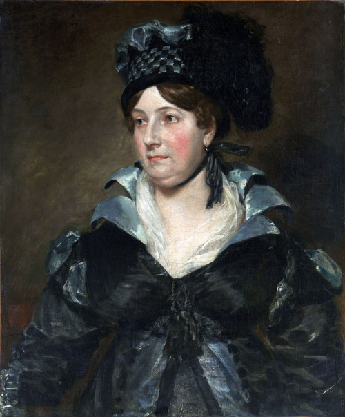 "Mrs. James Pulham Sr. (Frances Amys, born about 1766, died 1856) by John Constable, 1818 England (Woodbridge, Suffolk), the Met Museum Click for a huge image. I've altered the preview picture so you can see the details easier.  The sitter, an amateur portrait painter, was the wife of James Pulham, an attorney in Woodbridge, Suffolk. In a letter to Constable of April 30, 1818, Pulham referred to this painting as ""the Compliment which you have so handsomely bestowed on her."" Portraiture was a minor but remunerative part of Constable's practice. This is one of his liveliest works, with varied brushwork and glinting highlights played off against the sitter's matronly calm."
