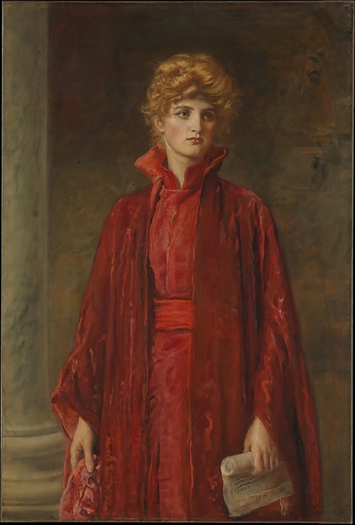 "Portia by Sir John Everett Millais, 1886 England, the Met Museum  Millais is best known as one of the artists who founded the Pre-Raphaelite Brotherhood in 1848. As a result of what have been called his ""concessions to the sweetness of Victorian taste,"" he was made as associate of the Royal Academy in 1853. By the time he painted ""Portia,"" there was hardly a trace of the Pre-Raphaelite style in his work. Instead, he worked in an academic-realist manner and concentrated on the kinds of saccharine subjects that are now synonymous with Victorian painting.This picture was long incorrectly identified as a portrait of the actress Ellen Terry (1847–1928) in one of her most famous roles, Portia in Shakespeare's ""The Merchant of Venice."" In fact, it shows actress Kate Dolan dressed in the costume that Miss Terry wore in Act IV of the play. When the picture was exhibited at McLean's Gallery, London, in 1886, Shylock's line describing Portia was quoted in the catalogue: ""A Daniel come to judgement! Yea, a Daniel!""X-rays and pentimenti indicate that ""Portia"" is painted over a study of the same figure in Greek costume. An early photograph documenting the original image was published in 1899."