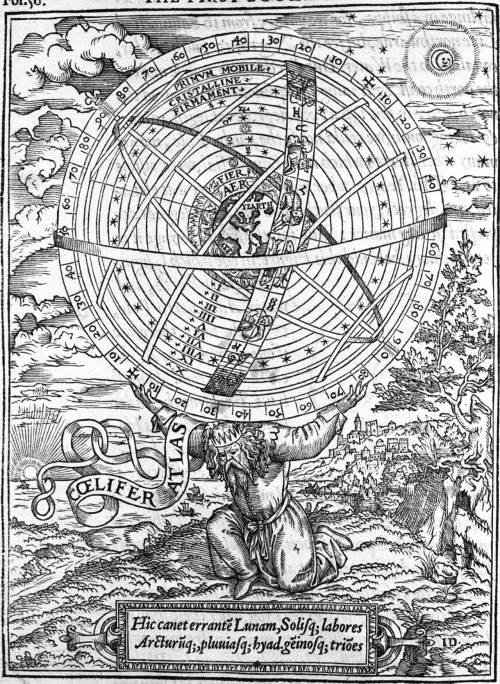 Atlas bearing the heavens in the form of an armillary sphere from William Cunningham, The Cosmographicall Glasse, London 1559. The verse at the bottom of the engraving is from Book I of Virgil's Aeneid, in which Atlas is referred to as a teacher of astronomy