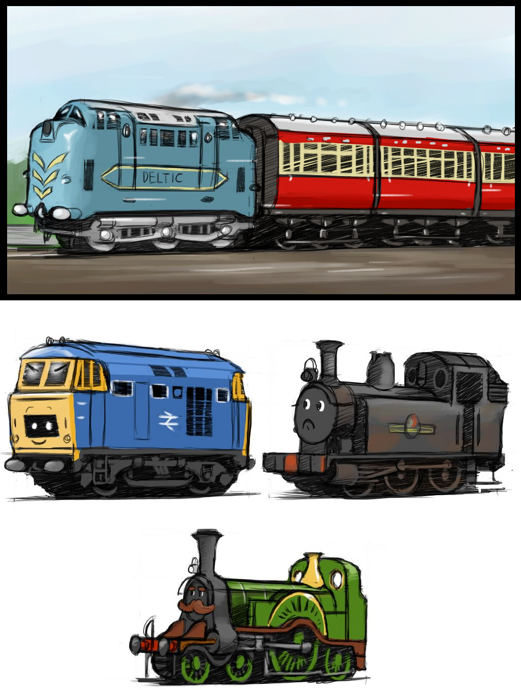 "worldwiderails:  jagneta:  nerailwayartist:  Tiny trains. C:Probably the beginning of something much, much bigger. 8c   Suddenly, I want a fleet of these tiny trains in OO scale. So cute! ♥  I'd take one of those mini-deltics in HO.  The one at the bottom needs a monocle, and to be saying ""like a sir…"""