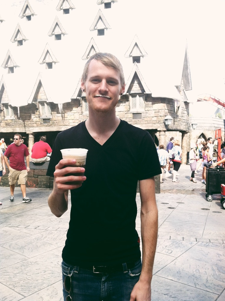 Visiting the Wizarding World of Harry Potter and drinking a butterbeer, I'm going to live here….