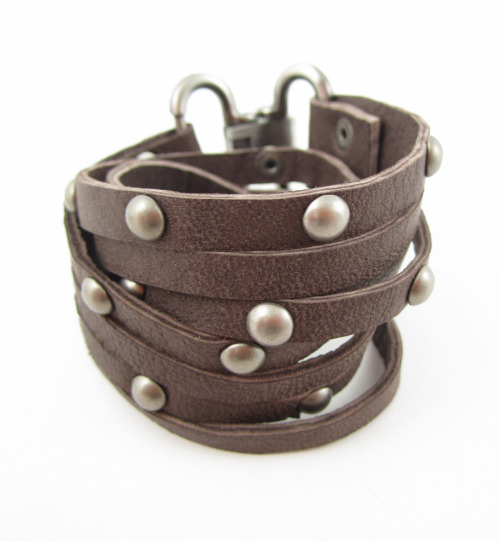 Double Wrap Leather Studded Bracelet