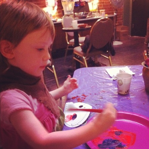 Stella is painting masks in the San Francisco Fringe Festival's green room. Meanwhile, her sister is in the Exit Theater for her first ever SF Fringe show. (Taken with Instagram)
