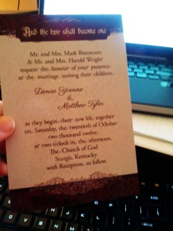 My sister's wedding invitation came today. My design turned out pretty good, though I do see things I would do differently now. Can't believe my baby sister is all grown up. with Denise – View on Path.
