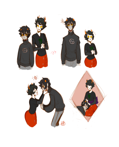 lemniscateouroboros:  I know its a pretty common headcanon to have Karkat as a little shortstop and Kanaya as tall and slender, but initially my first thoughts of their physical attributes were almost the opposite. I had pictured Kanaya to be short and a bit fuller (following with motherly archetypes here) and Karkat to be somewhat taller. Just something I was thinking about this morning. also changed my watermark to my signature initals not really important though
